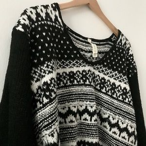 Fuzzy Black and White Christmas Tribal Sweater